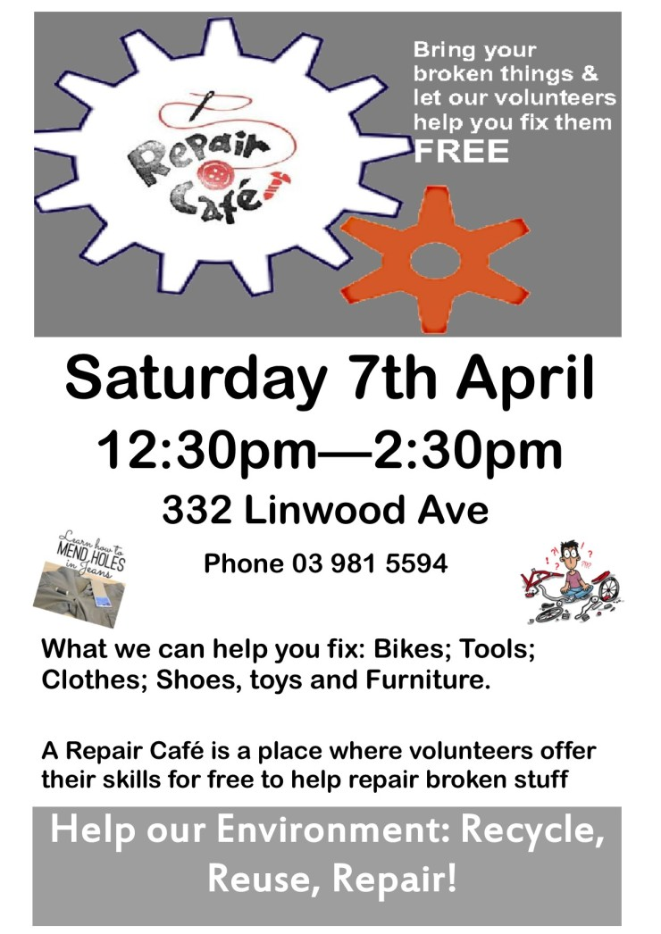 Repair Cafe Poster LRC 7th April 18